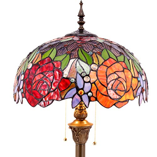 Tiffany Style Floor Standing Lamp 64 Inch Tall Stained Glass Red Rose Design Shade 2 Light Antique Base for Bedroom Living Room Reading Lighting Table Set S001 WERFACTORY (Tiffany Floor Standing Lamp)