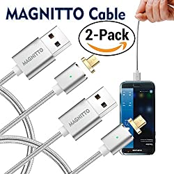 Braided USB Charging Cable MAGNITTO 3.3 Feet Premium Compact Magnetic for Samsung Galaxy S2 S3 S4 S6 S7, Note 2/3/4/5,LG G4 G3, Sony Xperia Z5 Fast Charging Data Transfer Cord Android (2 Pack Silver)