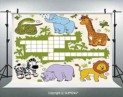 Photo Backdrop Colorful Crossword Game for Children Wild Jungle Safari Animals Grid Decorative 3D Backdrops for Interior Decoration Photo Studio Props]()