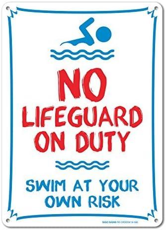 bienternary Pool Schild–No Lifeguard On Duty Swim at your own risk Sign 14x 10Aluminium Sign Blechschilder Vintage Road Schilder Dose Teller Schilder dekorativer Plaque