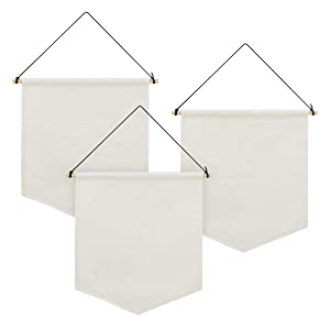 Farram 3 Pieces Blank Pin Wall Banner White Canvas Pennant with Wood Stick for Display Badge,Buttons,Lapel Collections