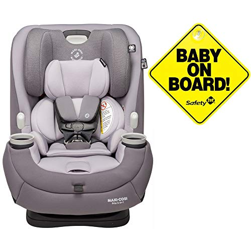 Maxi-Cosi Pria 3-in-1 Convertible Car Seat – Silver Charm with Baby on Board Sign