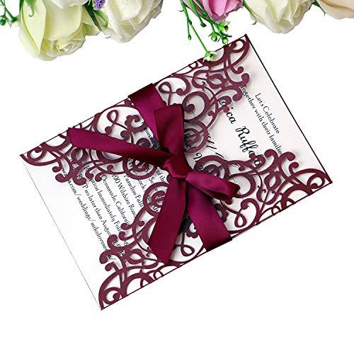 PONATIA 25PCS Laser Cut Hollow rose with drill Invitation Card Wedding Bridal Shower Engagement Birthday Graduation Invitation Cards (Burgundy) ()