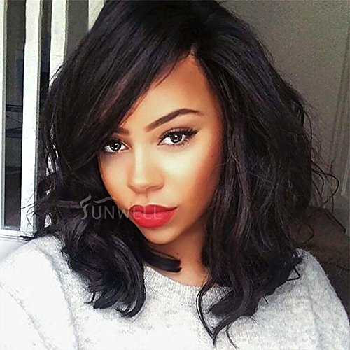 Human Hair Wigs for Black Woman Cheap Lace Front Wigs Short Bob Brazilian Virgin Hair Glueless Natural Wavy 130% Density 14