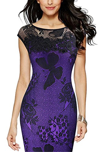 Dress Hip Gown Size Back Zipper Women Package Up Embroidered Plus Floral Pencil Allonly Evening Purple Sexy Lace qvn04RwZ