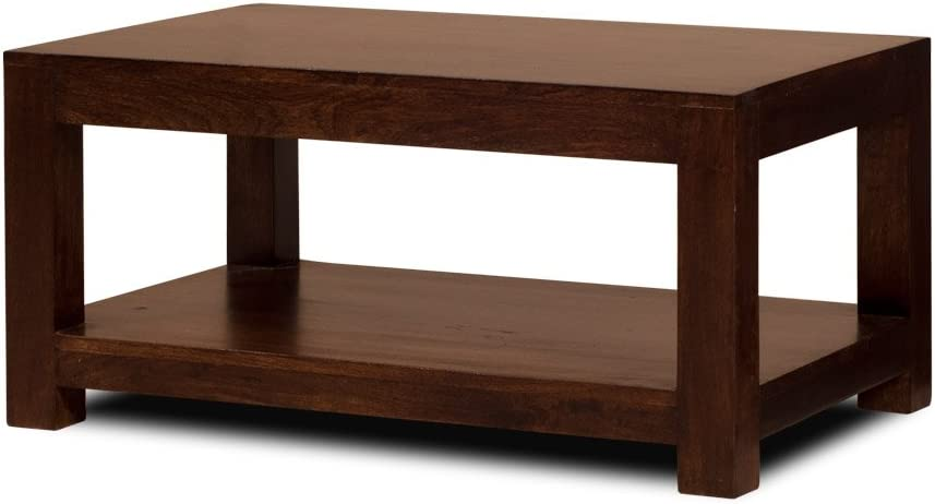 Dakota Dark Brown Mango Coffee Table Solid Wood Indian