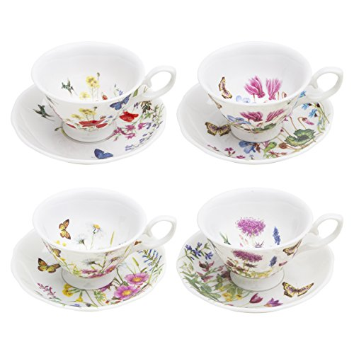 Gracie Bone China by Coastline Imports Butterfly Garden 8-Ounce Teacup and Saucer Assorted Set of 4 ()