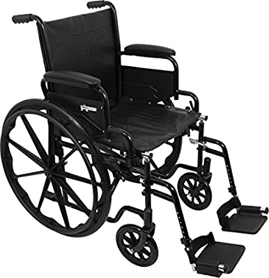 """ProBasics Standard Wheelchair - Flip Back Desk Arms - 250 Pound Weight Capacity - Black - Swing-Away Footrest - 16"""" x 16"""" Seat"""