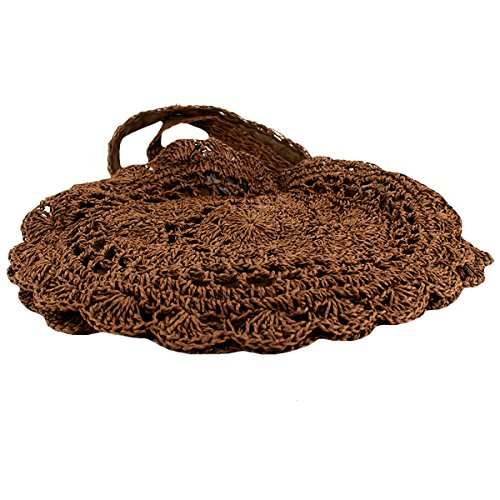 Shoulder Weave Drawstring Meliya Bags Handbags Mandmade Tote Bgas Brown Summer Womens Dark Beach Holiday Straw wxxqRvHn
