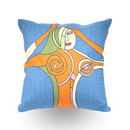 Little Lady Embroidered Pillow - Hodeco Decorative Embroidery Throw Pillow Covers 18x18 Floor Pillows Cover for Couch Bed Room Office 100% Cotton Cushion Cover Throw Pillow Case Picasso Abstract Women Embroidered, 45x45cm 1 Piece