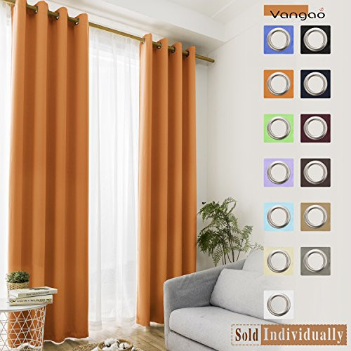 Green Brown Orange - Vangao Orange Blackout Curtains Kids Room Darkening Draperies Thermal Insulated Solid Grommet Top Drapes/Panels for Bedroom/Living Room 52x84 Inch 1 Panel