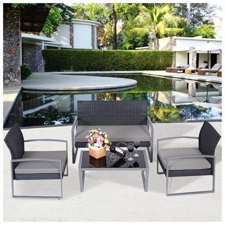 Black Rattan Wicker 4 Piece Outdoor Patio Furniture Conversation Set  Loveseat Chairs And Center Table With