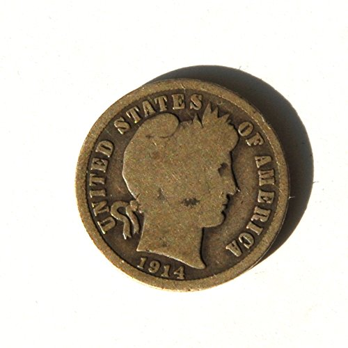 1914 United States of America Barber Head Dime. World War I Begins Coin Very Good Details