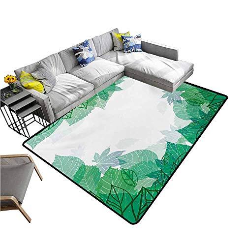 - Office Chair Floor Mat Foot Pad Mint,Tropical Green Leaves Wildlife Botanical Fern Leaf Bush Field Forest Illustration Art,Jade Green 36