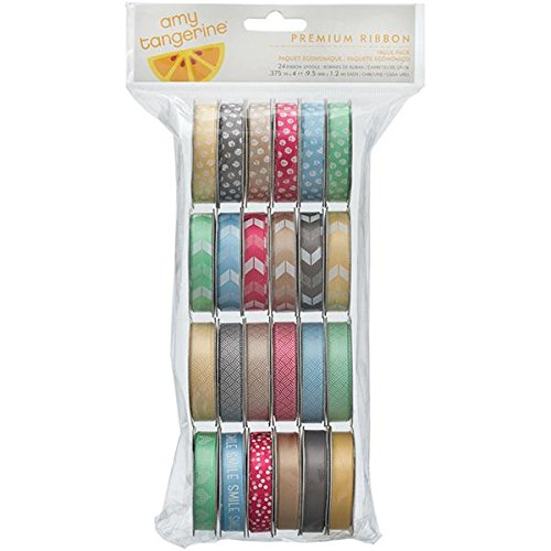 American Crafts 24-Spools Cut and Paste Value Pack Premium Ribbon, 0.375-Inch by 4-Feet, Printed and (American Crafts Premium Ribbon)