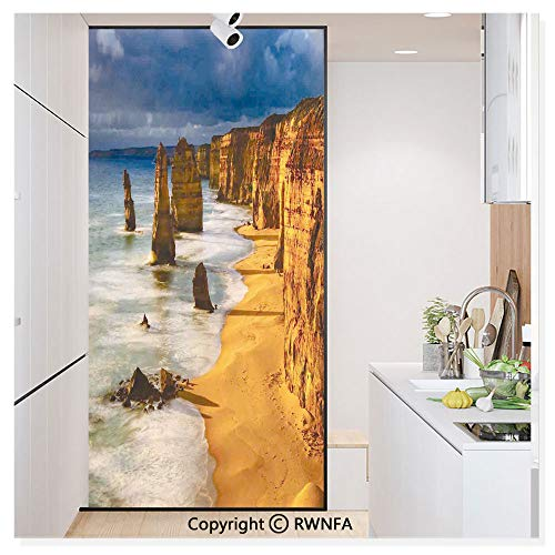 Window Glass Sticker Door Mural Twelve Apostles Australia Sunset Great Ocean Road Coast Cliff Washed by Sea Surf Picture Static Cling Privacy No Glue Film Home Decorative 11.8x59.8inch,