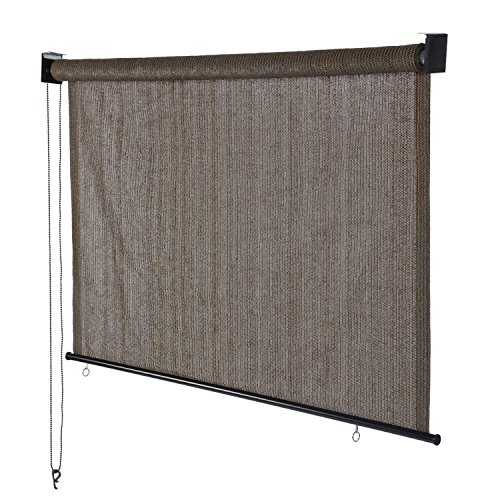 Derstadt Roller Window Shade Roller Sun Shade Blind Roll Up Shade Sun Blackout Exterior Sunscreen Chain Darkening New, (180gsm HDPE, 95% UV protection, 4X6ft,Cabo- sand  (Patio Sun Blinds Outdoor)