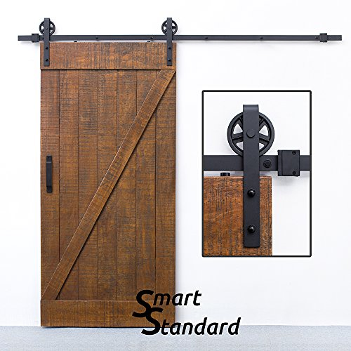 SMARTSTANDARD 8 FT Sliding Barn Door Hardware (Black) (Big Industrial Wheel Hanger)(1 x 8 Foot Rail)