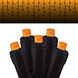 Festive Holiday Lights Halloween Icicle light strings with 105 5MM LED lights with black wire, UL approved (Orange Frost)
