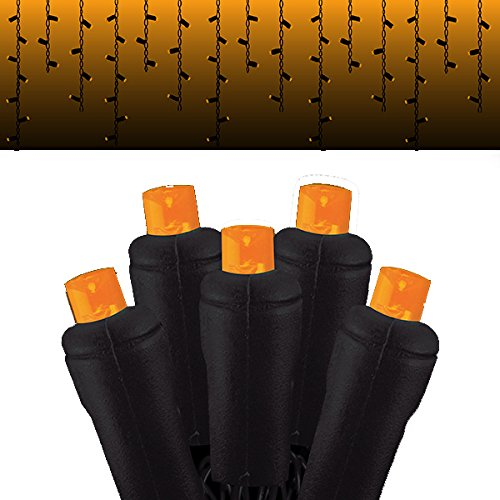 Festive Holiday Lights Halloween Icicle light strings with 105 5MM LED lights with black wire, UL approved (Orange Frost) -