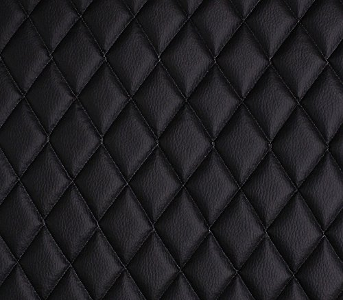 Vinyl Grain Texture Quilted Foam BLACK Fabric 2