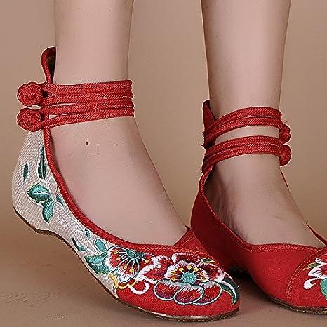 GuiXinWeiHeng xiuhuaxie (new)-Gestickte Schuhe, Sehnensohle, ethnischer Stil, weibliche Tuchschuhe, Mode, bequem, l?ssig innerhalb der Zunahme, red, 37