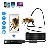 Meita Endoscope Camera Waterproof Wireless WiFi Borescope 1200P HD LED Inspection Tool USB Snake Cam with Light Flexible Qualitative Cable for Phone iOS Android Mac Windows Tablet 5M