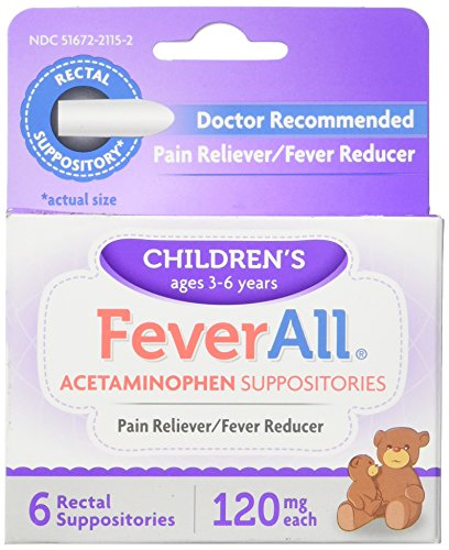 - FeverAll Children's Acetaminophen Suppositories, 120 mg - 6 ea