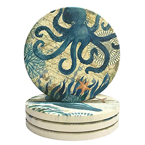 Drink Coasters Absorbent Stone Bar Coaster Set of 4, CoxFox Beach Theme Funny Art Coastal Coasters for Drinks Coffee Mugs Cups Beer Wine Bottle Cocktail Desk (Ocean Life) ()