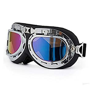 bargain house Steampunk Vintage Goggles Aviator Pilot Motorcycle Cruiser Scooter Half Helmet Goggle