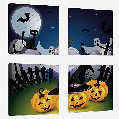 4pcs/set Modern Painting Canvas Prints Wall Art For Home Decoration Halloween Print On Canvas Giclee Artwork For Wall DecorFunny Cartoon Design with Pumpkins Witches Hat Ghosts Graveyard Full Moon Cat -