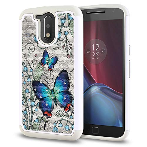FINCIBO Case Compatible with Motorola Moto G4/ G4 Plus 5.5 inch XT1625, Hybrid Protector Case Cover TPU Rhinestone Bling for Moto G4/ G4 Plus (NOT FIT G4 Play) - Vintage Crowned Hairstreak Butterfly