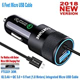 micro usb turbo car charger - Fortune 36W Android Car Charger with Quick Charge 3.0 Integrated 6 Ft Micro USB Cable & 2.4A Port for Android Mobiles: Samsung Galaxy S7 Edge Plus Note Nexus, HP, HTC, LG, ZTE, Motorola, Zenfone Etc.