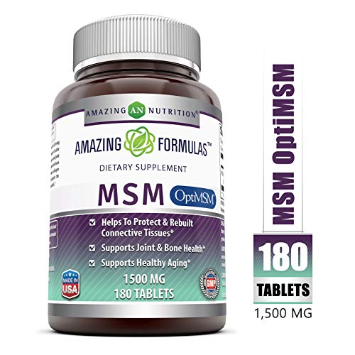 Amazing Formulas OptiMSM - 1500 mg 180 Tablets - Supports Connective Tissue, Healthy Aging & Joint Function, Skin Health (Msm Pure 2000)
