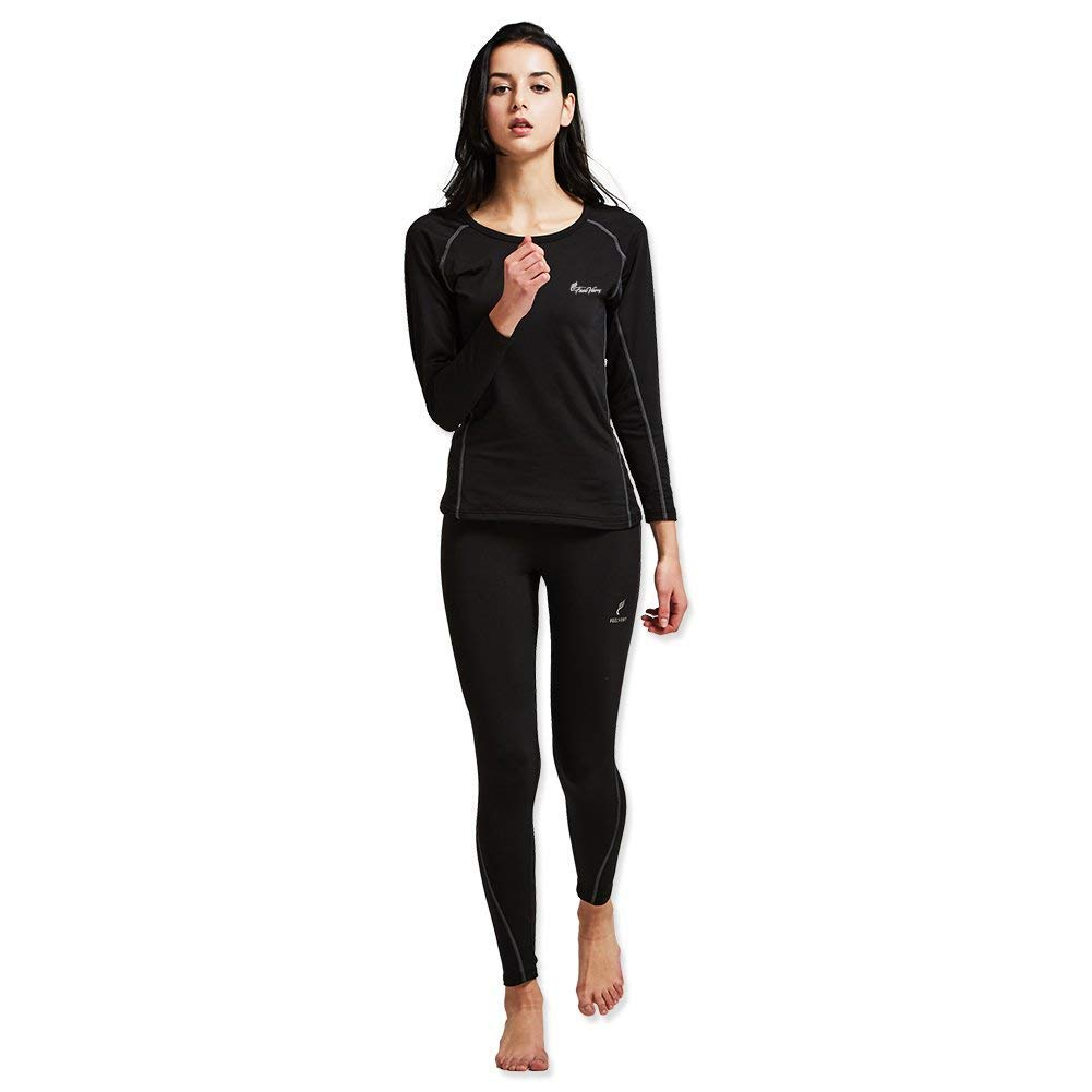Feelvery Women's HEATPRO Active Performance Long Johns Thermal Underwear Set (Large, Black)