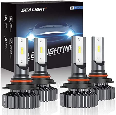 SEALIGHT 9006/HB4 9005/HB3 LED Headlight Bulbs High Low Beam, Combo Package CSP Led Chips Hi/Lo lighting fixtures - 6000K White,Pack of four