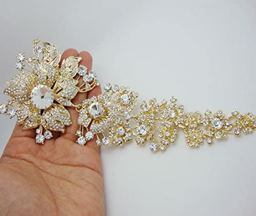 TTjewelry Luxurious-Gold-tone 7.87 Long Flower Brooch Clear Austria Crystal Bride Brooch