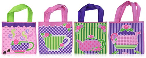 """4 ~ Tea Party Mini Tote / Gift Bags ~ Approx. 6"""" X 6"""" with 4.5"""" Handles ~ Non-woven Polyester Fabric ~ New ~ Teapot, Tea Cup, Cupcake Favor Bags, Goody Bags, Loot Bags"""