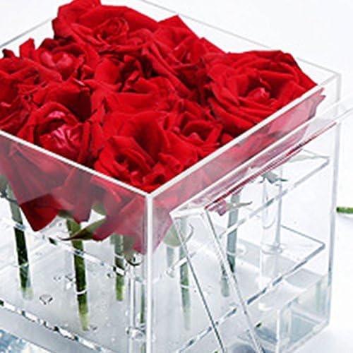 CUHAWUDBA Nouveau Mode Acrylique Transparent Rose Flower Box Maquillage Organisateur Outils cosmetiques Porte-Fleurs Boite-Cadeau pour Femme Petite Amie avec Couvercle
