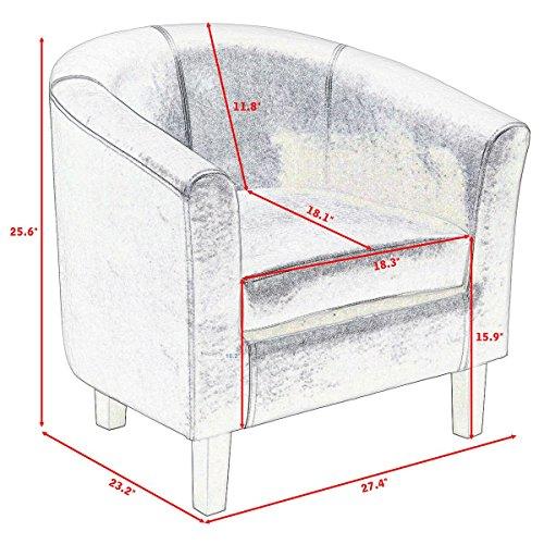 Giantex Arm Chair PU Leather Single Sofa Tub Barrel Club Seat Furniture w/Cushion (Black)