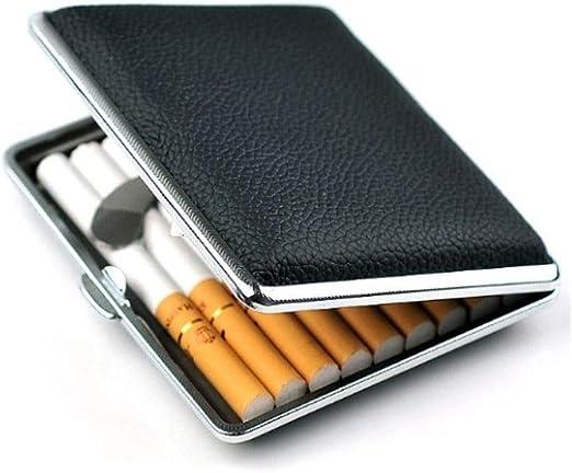 XSWY Estuche de Cigarrillos Estuche de Cigarrillos automático Liso de Lino Fino Negro de Cuero Estuche de Cigarrillos Niza (Color : 14 Packs): Amazon.es: Equipaje