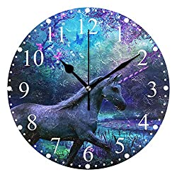 ICEFIREDIY 02 Unicorn Wallpaper Wall Clock Silent Non Ticking - Acrylic Battery Operated Round Easy to Read Home/Office/School Clock