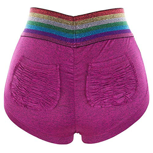 Women's Rainbow Striped Pocket Stretchy High Waisted Ruched Butt Lifting Workout Running Yoga Shorts (Purple, ()
