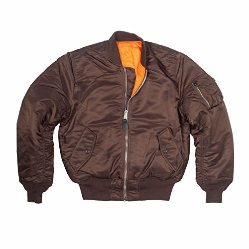 MA-1 Alpha Industries US Army Pilot Flight Military AF Air Force Bomber Jacket XL (X-Large, Chocolate (Dark) Brown / Orange)
