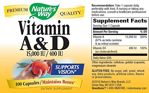 Nature's Way Vitamin A and D, 15,000 IU / 400 IU, 100 Capsules