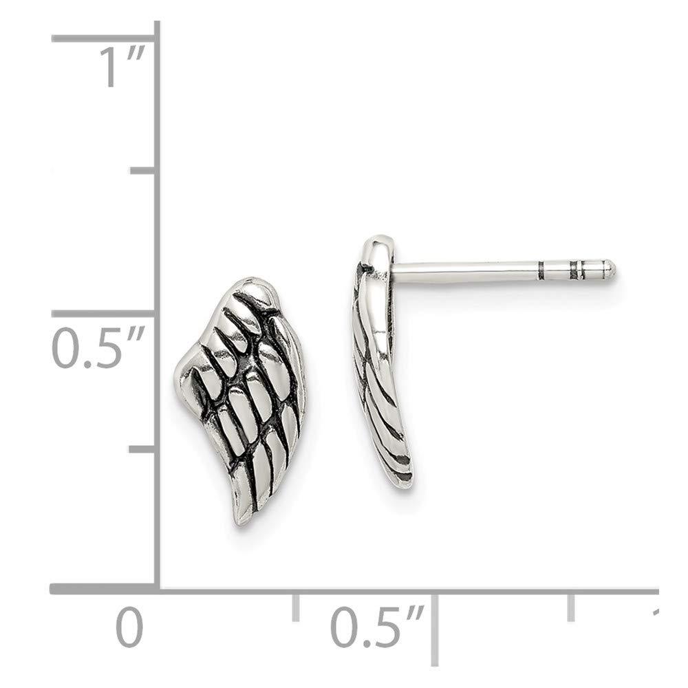 Sterling Silver Antiqued Wing Post Earrings