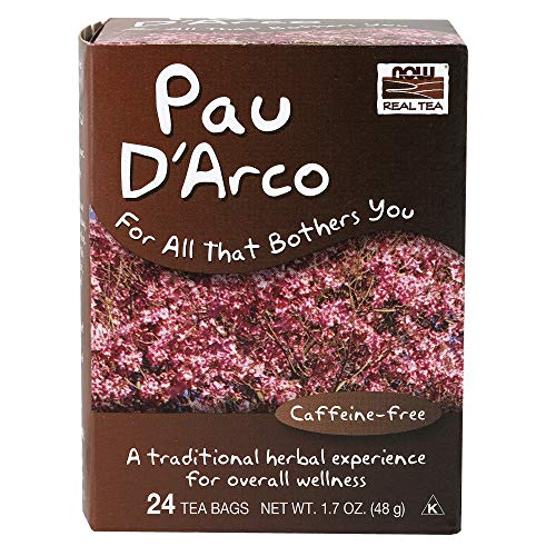 NOW Foods, Pau DArco Tea, A Traditional Herbal Experience, Overall Wellness, Premium Unbleached Tea Bags with No-Staples Design, 24-Count