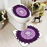 SOCOMIMI 2 Piece Toilet mat Set Circular Lace Point Form with Arabic Lettering The in Node Centre Meditation Image 2 Piece Shower Mat Set