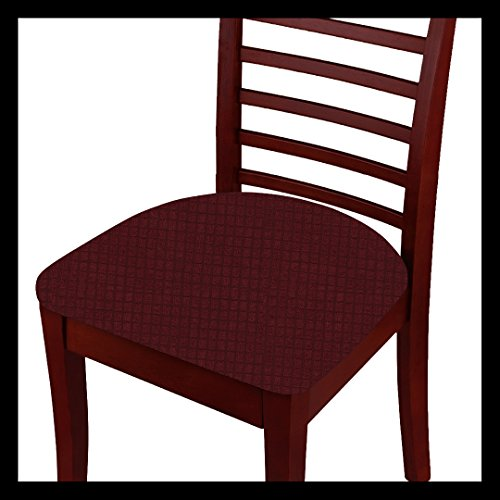 Fancy Linen 2pc Chair Pad Cover Set for Dining Chair Waterproof Stretchable Breathable Seat Cover Solid Burgundy New