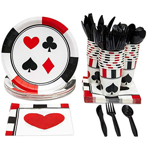 Blue Panda Casino Party Supplies - Serves 24 - Plates, Knives, Spoons, Forks, Cups and Napkins]()